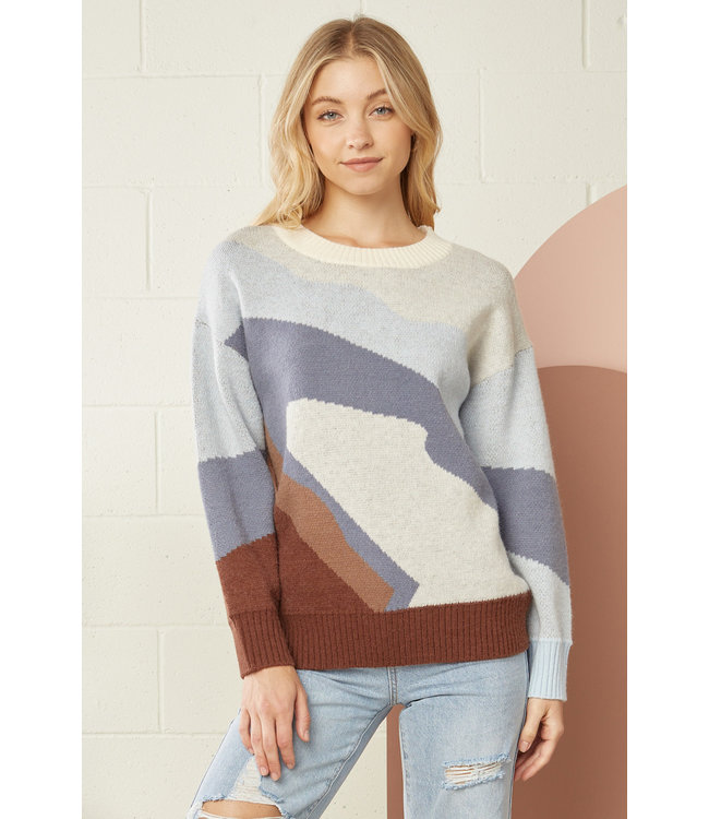 Entro Blue and Brown Sweater
