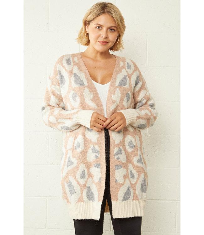 Entro Curvy Blush Leopard Open Sweater
