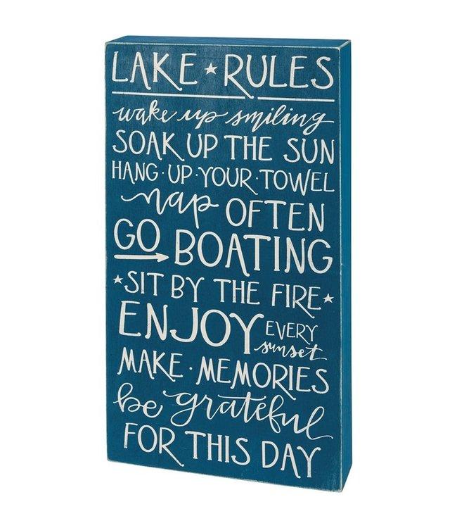 Primitives By Kathy Box Sign - Lake Rules