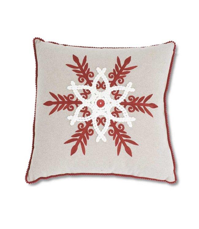 K&K Interiors Linen Square Pillow w/Red & White Snowflake