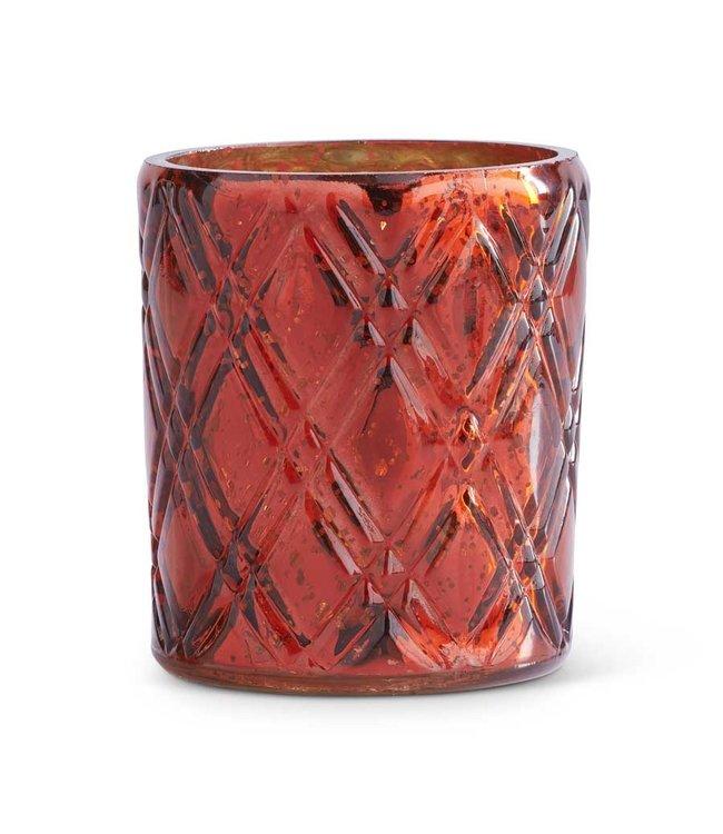 K&K Interiors 4.5 Inch Red Mercury Glass Votive