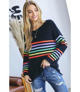 Davi & Dani Rainbow Stripe Loose Fit Sweater