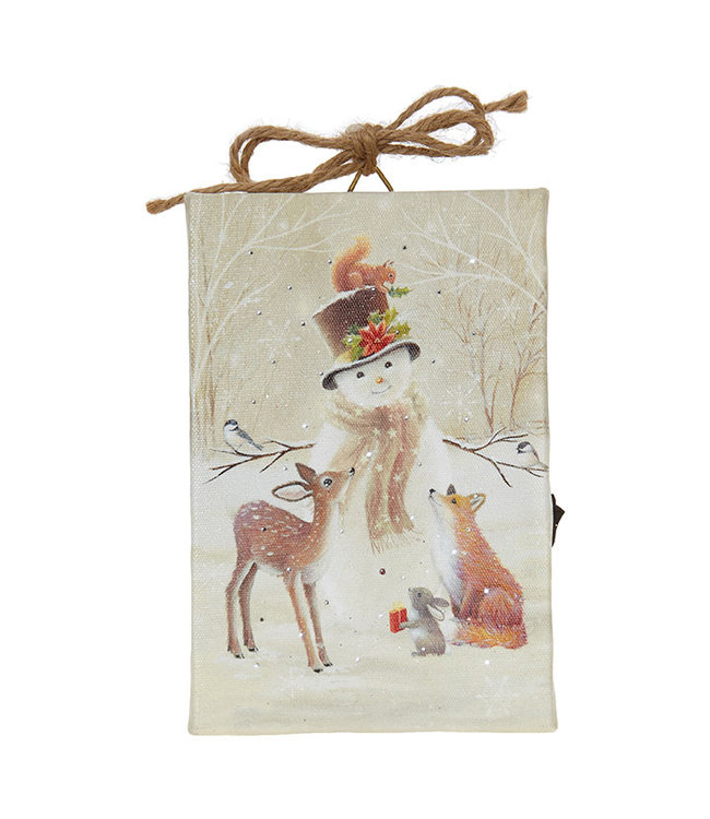 """RAZ Imports 6"""" Snowman And Friends Lighted Print Ornament"""