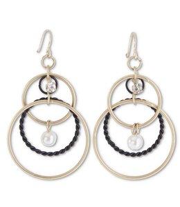 K&K Interiors Triple Hoop Earring with Pearl