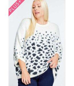 Davi & Dani Cream Printed Round Neck Loose Sweater