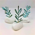 FAIRE (MOTHER NATURE JEWELRY) REAL OLIVE TREE BRANCH ON WHITE SEA STONE