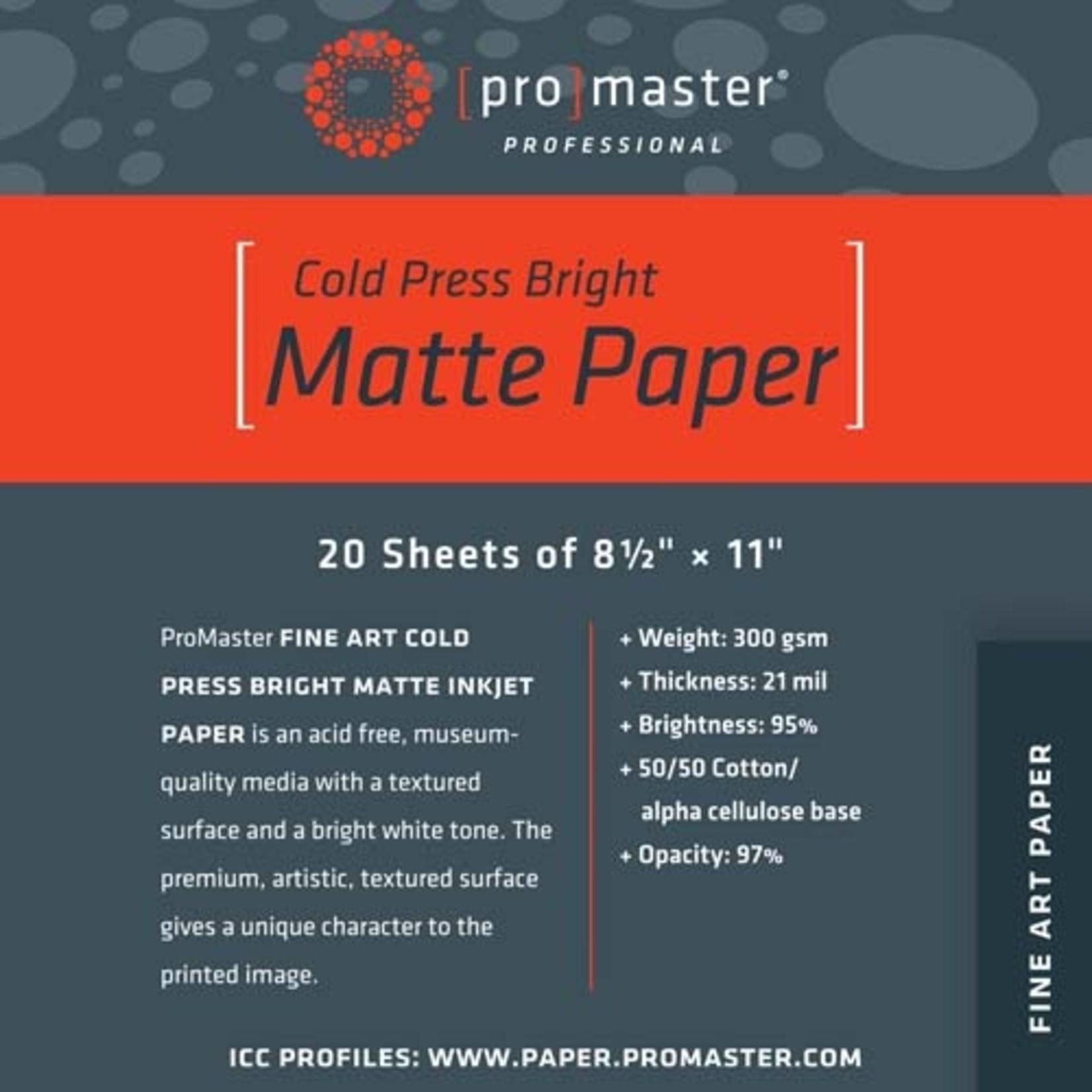 """ProMaster Fine Art Cold Press Bright Matte Paper 8 1/2""""x11"""" - 20 Sheets"""