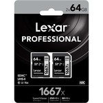 Lexar Lexar 1667X SDHC 64GB 2- Pack Memory Card