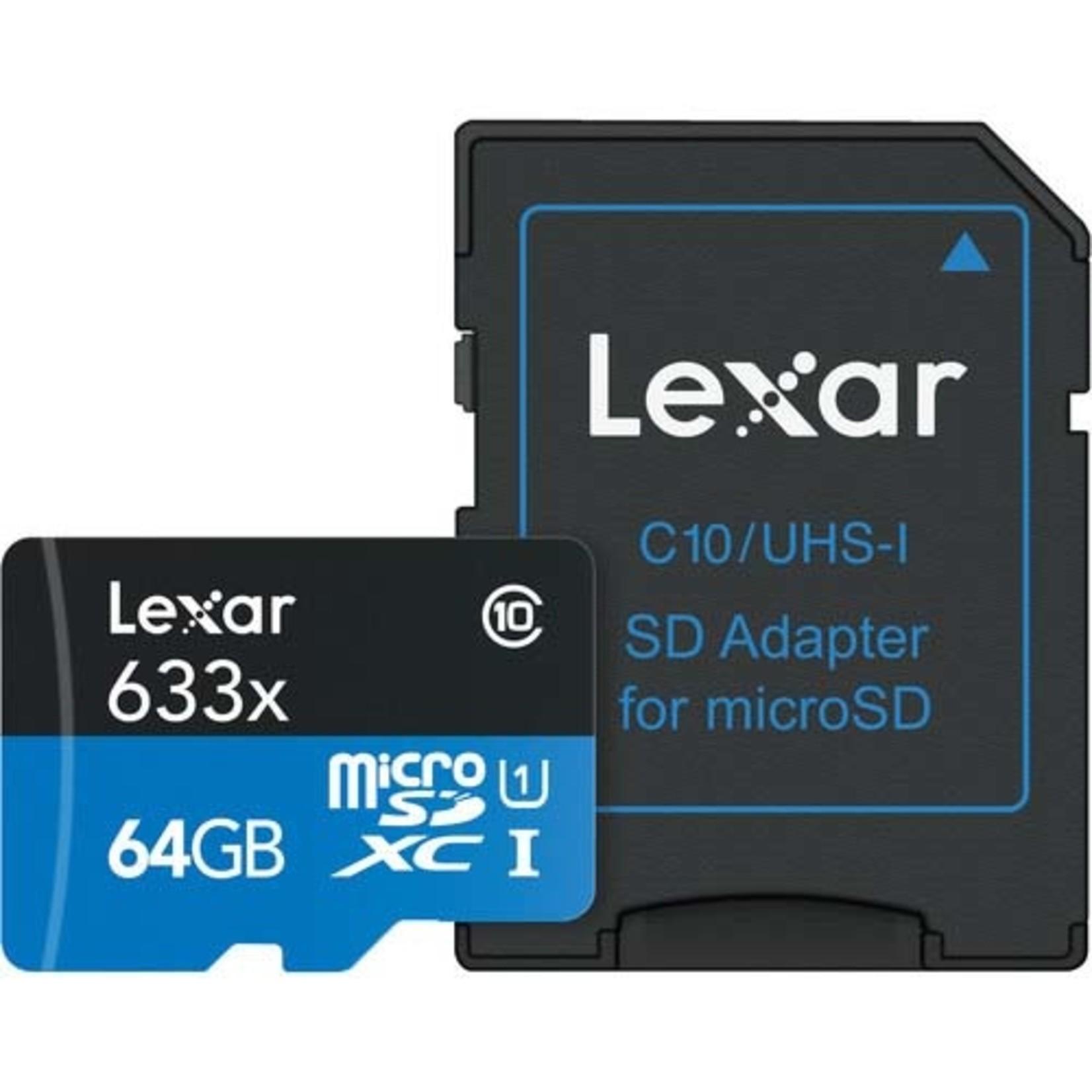 Lexar 633x UHS-I microSDXC 64GB Memory Card with SD Adapter