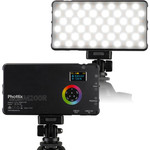 Phottix Light your scene with the compact M200R RGB LED Light Panel and Power Bank from Phottix. This compact LED light has about the size of a smartphone and features a 3200 to 5600K color temperature range and RGB full-color and effects modes. It also features