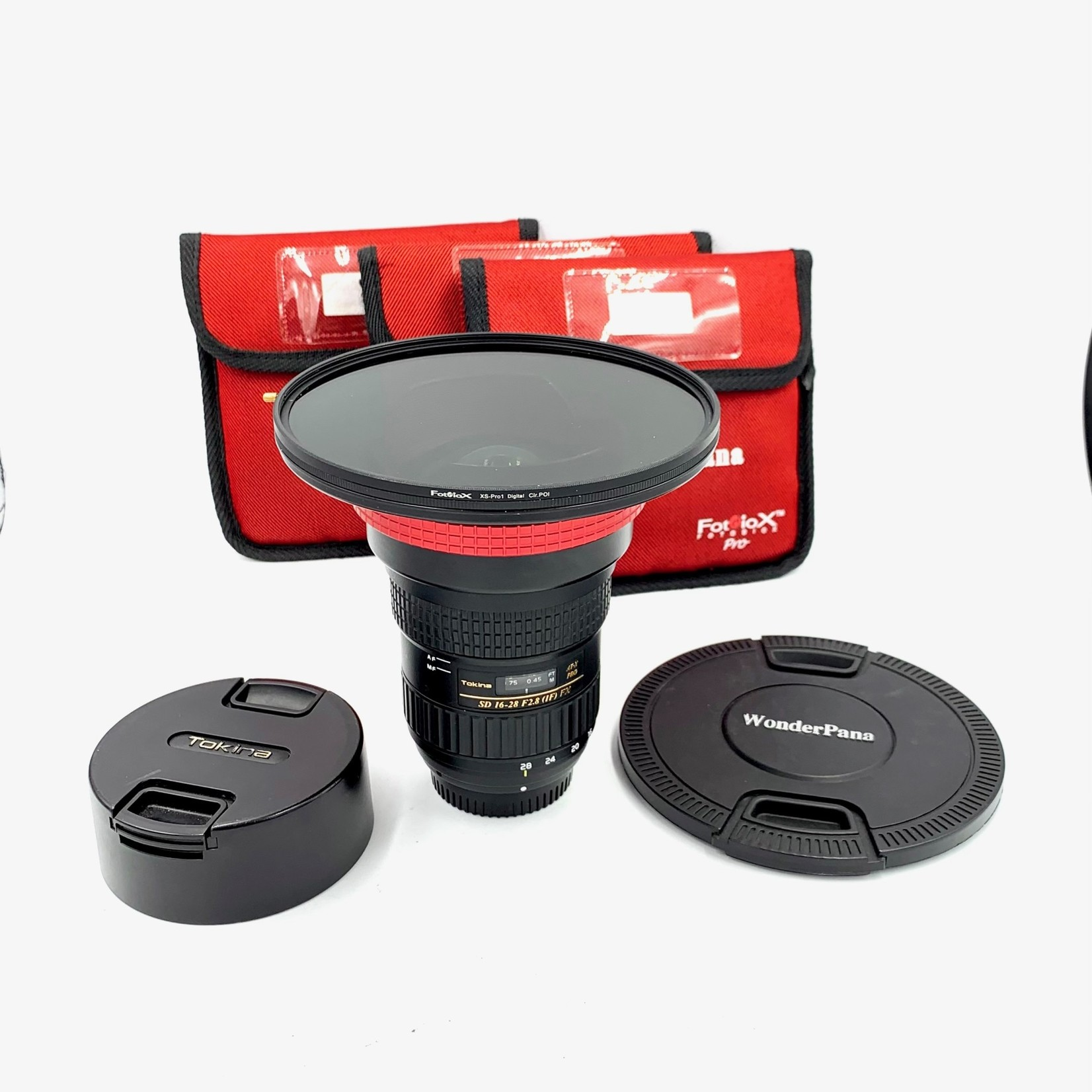 Tokina USED Tokina 16-28 f/2.8 AT-X  PRO FX Lens for Nikon (W/Box) and Fotodiox WonderPano CPL Filter System