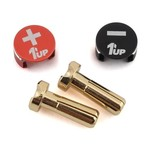 1UP Racing 1UP Racing LowPro Bullet Plug Grips w/4mm Bullets (Black/Red)