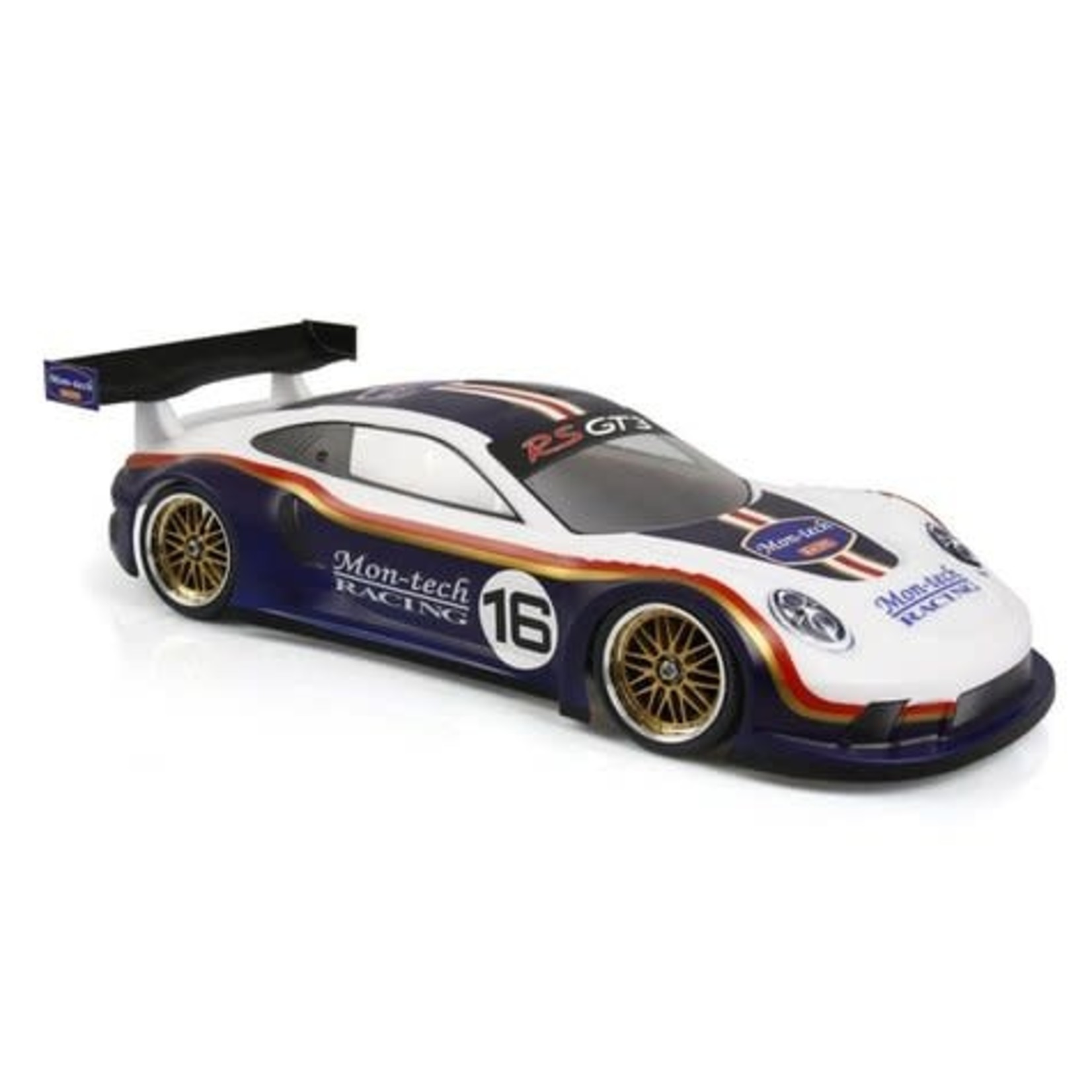 Montech 1/10th RS GT3 USGT Body  Comes unpainted with window masks and Mon-Tech sticker sheet