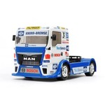 Tamiya This is an exciting R/C model assembly kit recreating the Team Hahn Racing MAN TGS truck which stars on the truck racing circuit in Europe. The realistic body is a 4-piece set made from lightweight and durable polycarbonate with separately molded plastic