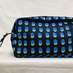 Denim Toiletry Bag (Blue/Green Dots)