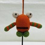 Crocheted Monster Zipper Pull - Orange