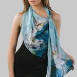 Sevya Handmade Akira Chiffon Scarf: Sky Blue & Orchid, India