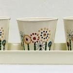 Stencil Flowers 3-Pot Tray