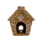 Terra Cotta Gingerbread House Candle Holder (SM)