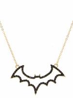 "Jane Marie 14"" Jet Crystal Bat Necklace"