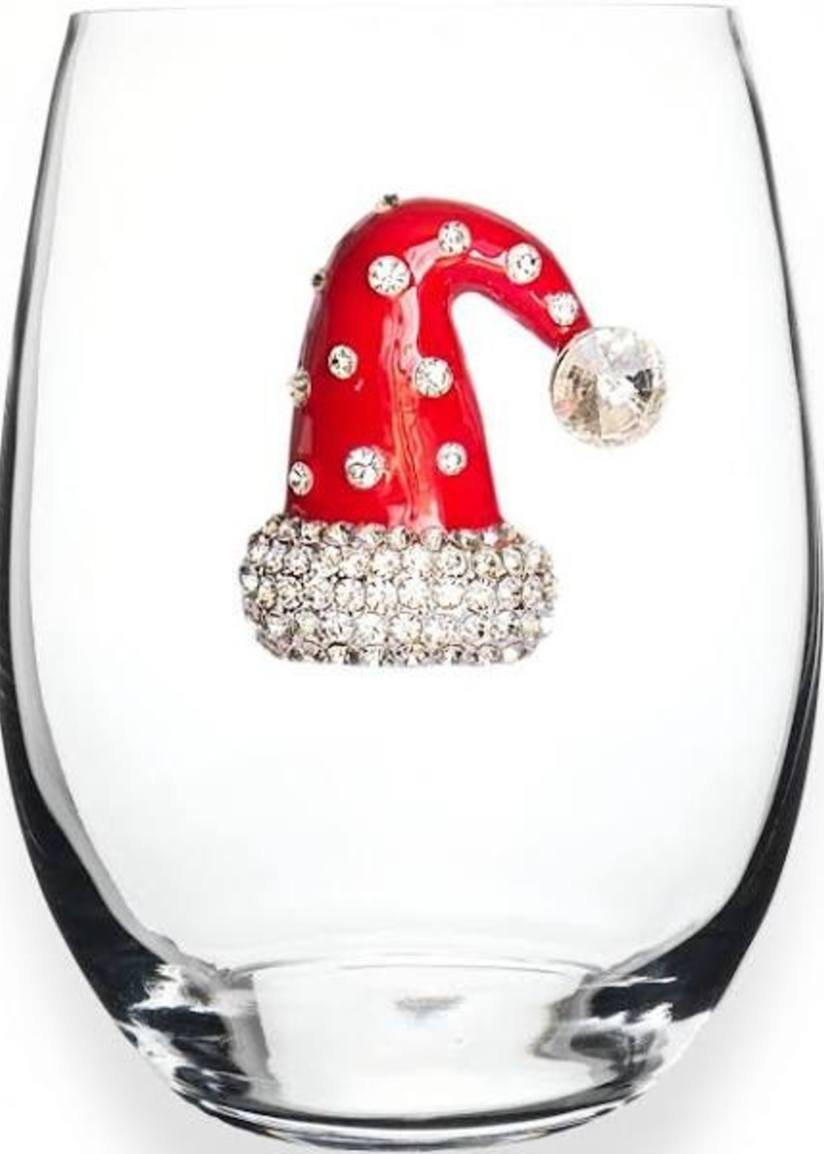 The Queen's Jewels Christmas Hat Stemless Wine Glass