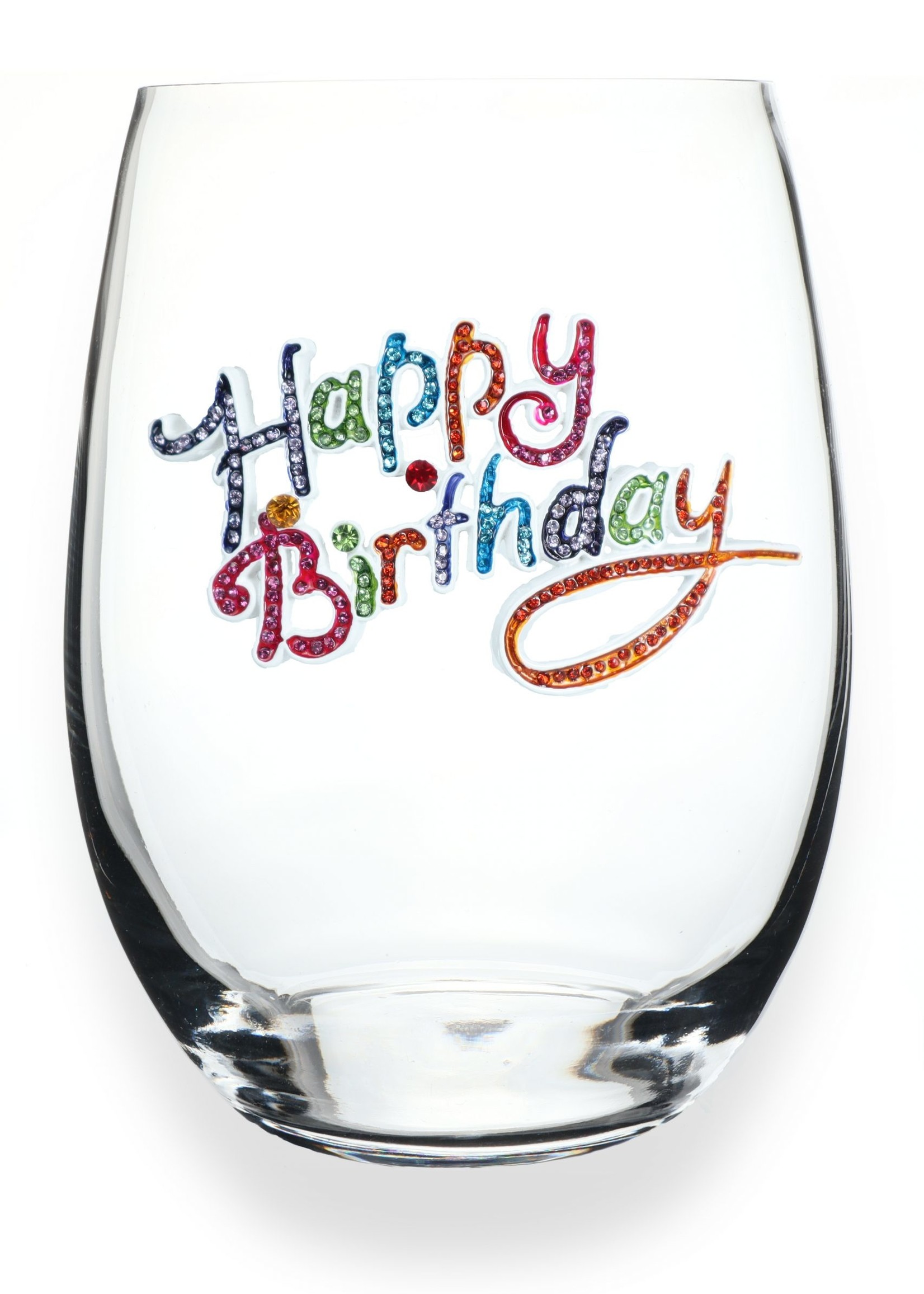 The Queen's Jewels Happy Birthday Stemless Wine Glass