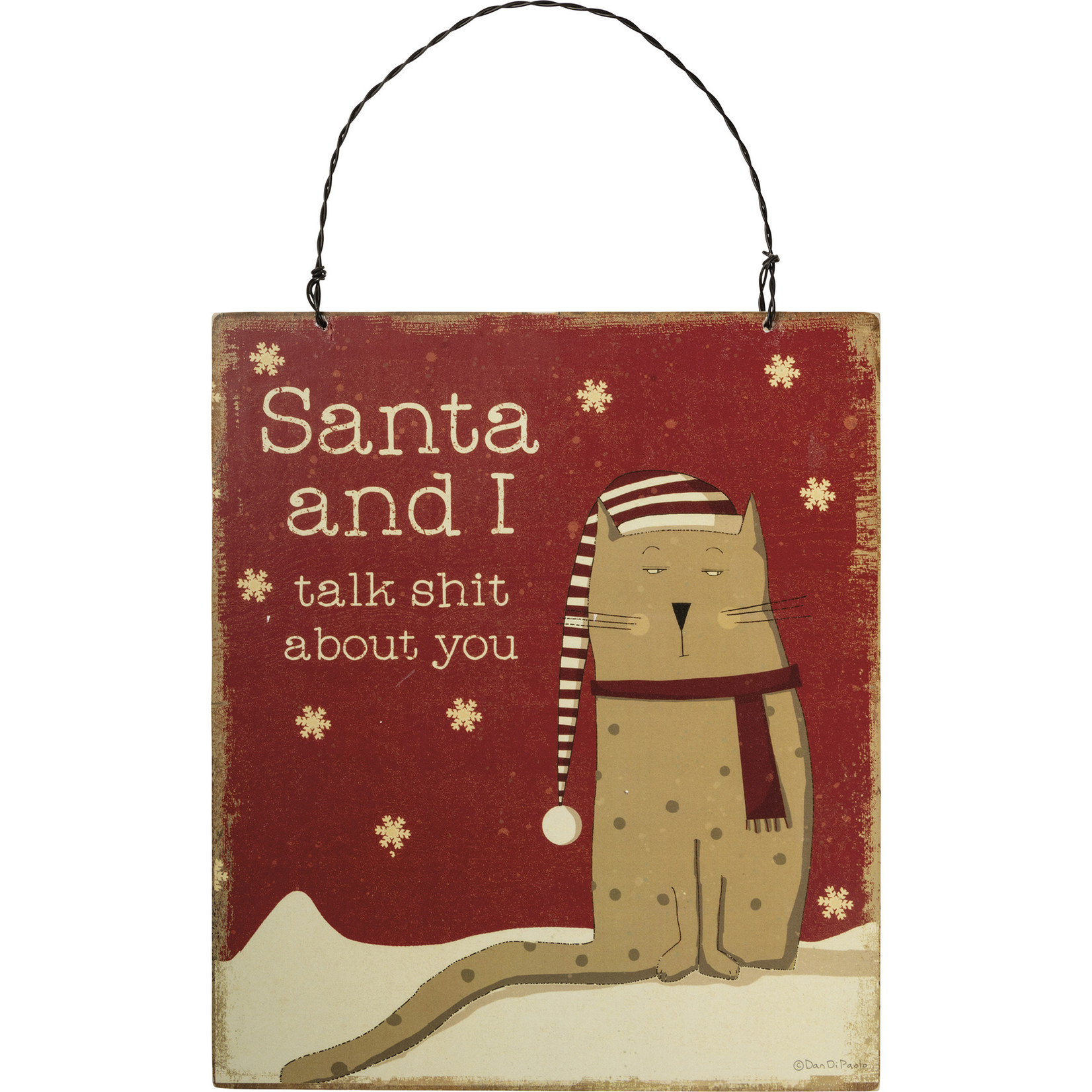 Primitives By Kathy Hanging Decor - Santa And I Talk About You - Cat