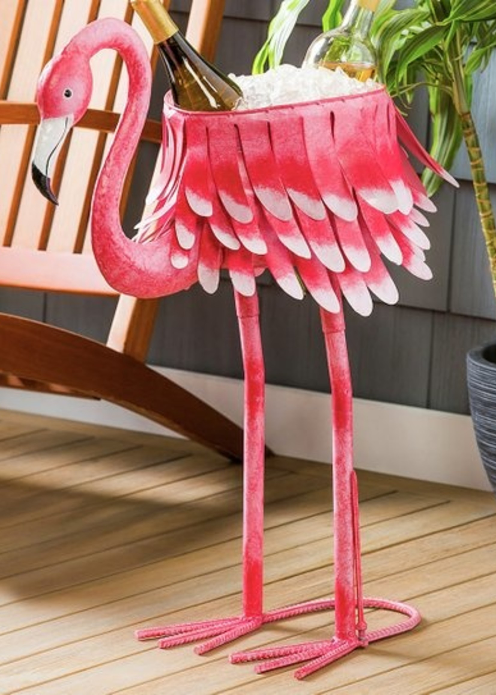Evergreen Metal Flamingo Chiller/Planter