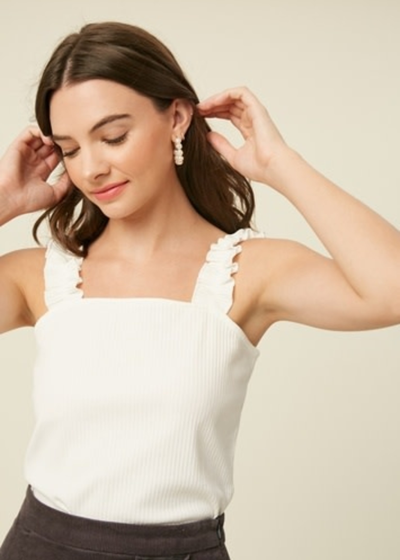 Listicle Ruffle Strap Ribbed Knit Top