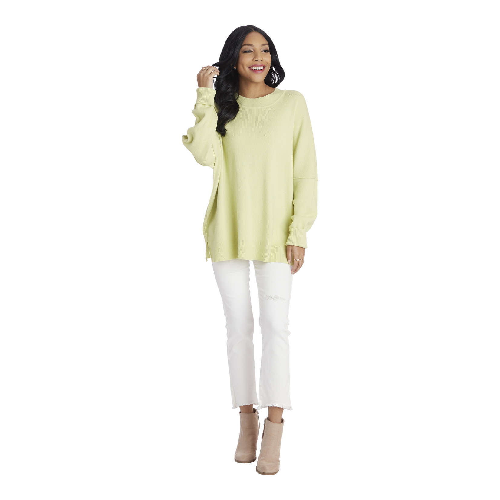 Mudpie Lime Astrid Ribbed Sweater