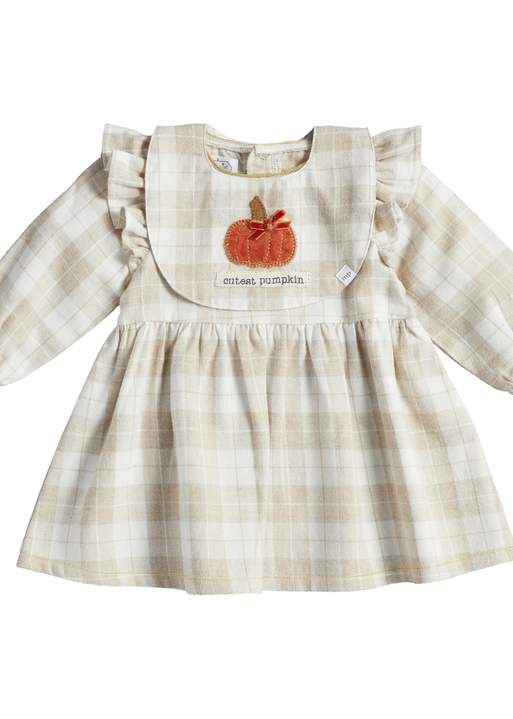 Mudpie Little Turkey Plaid Dress and Bib Set