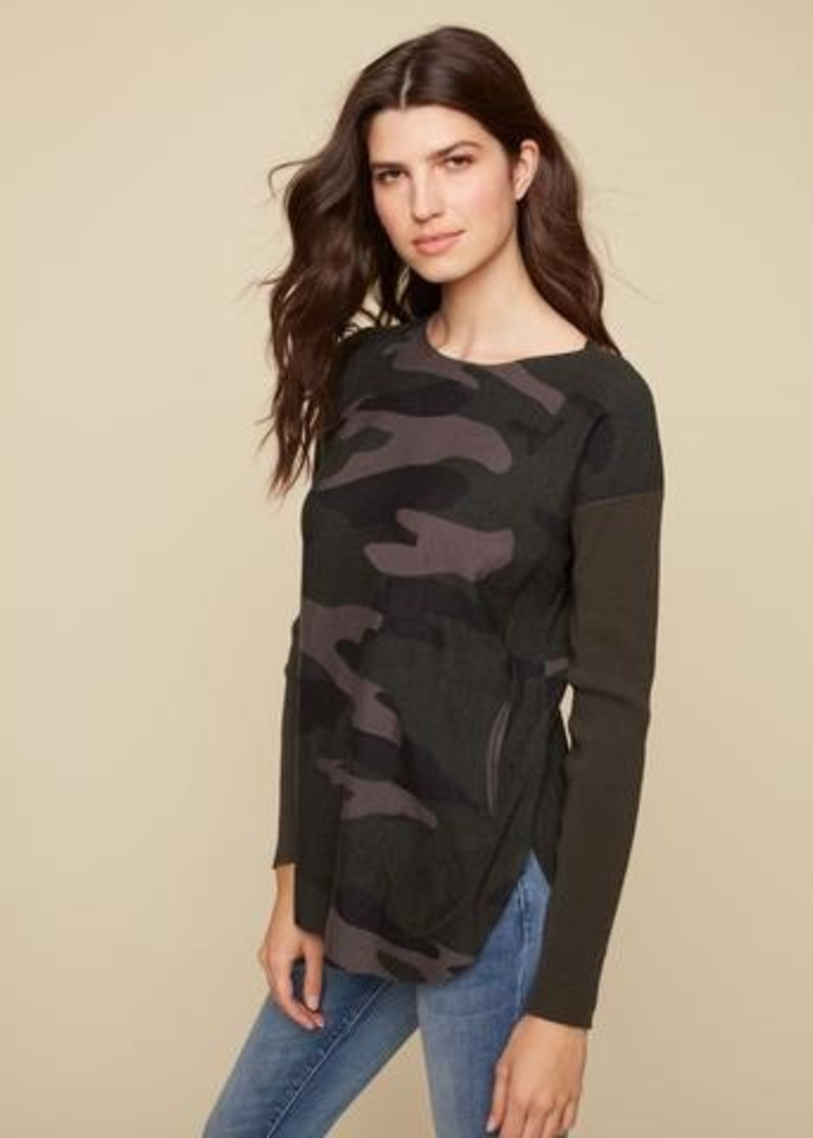CharlieB Camo Boat Neck with Pocket Sweater