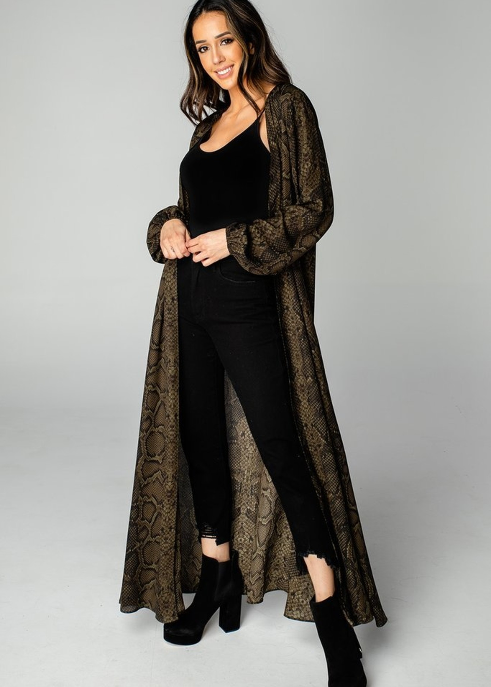 Buddy Love Stoney Olive Long Sleeved Duster