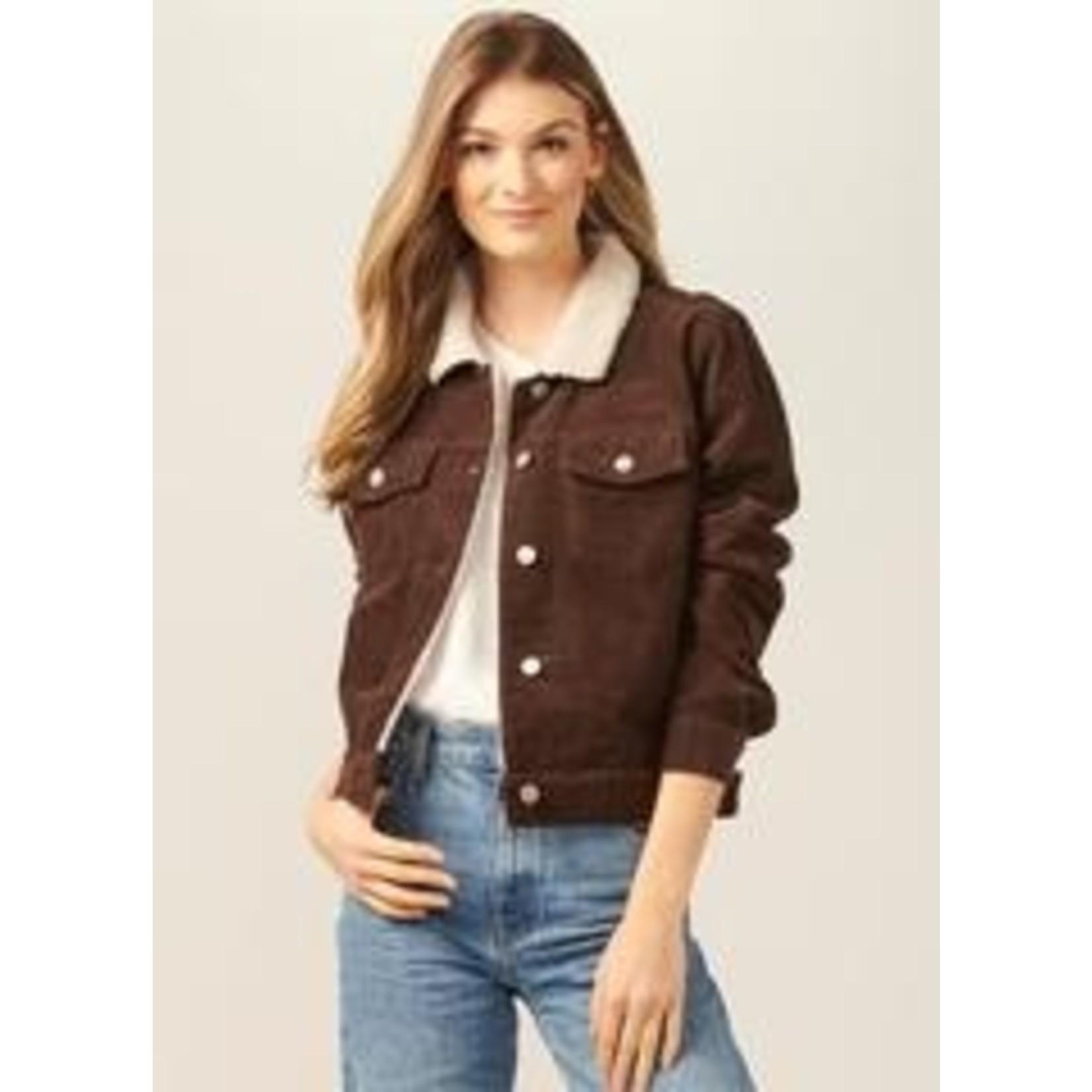 Gift Craft Luxe Vegan Sherpa Collared Corduroy Jacket