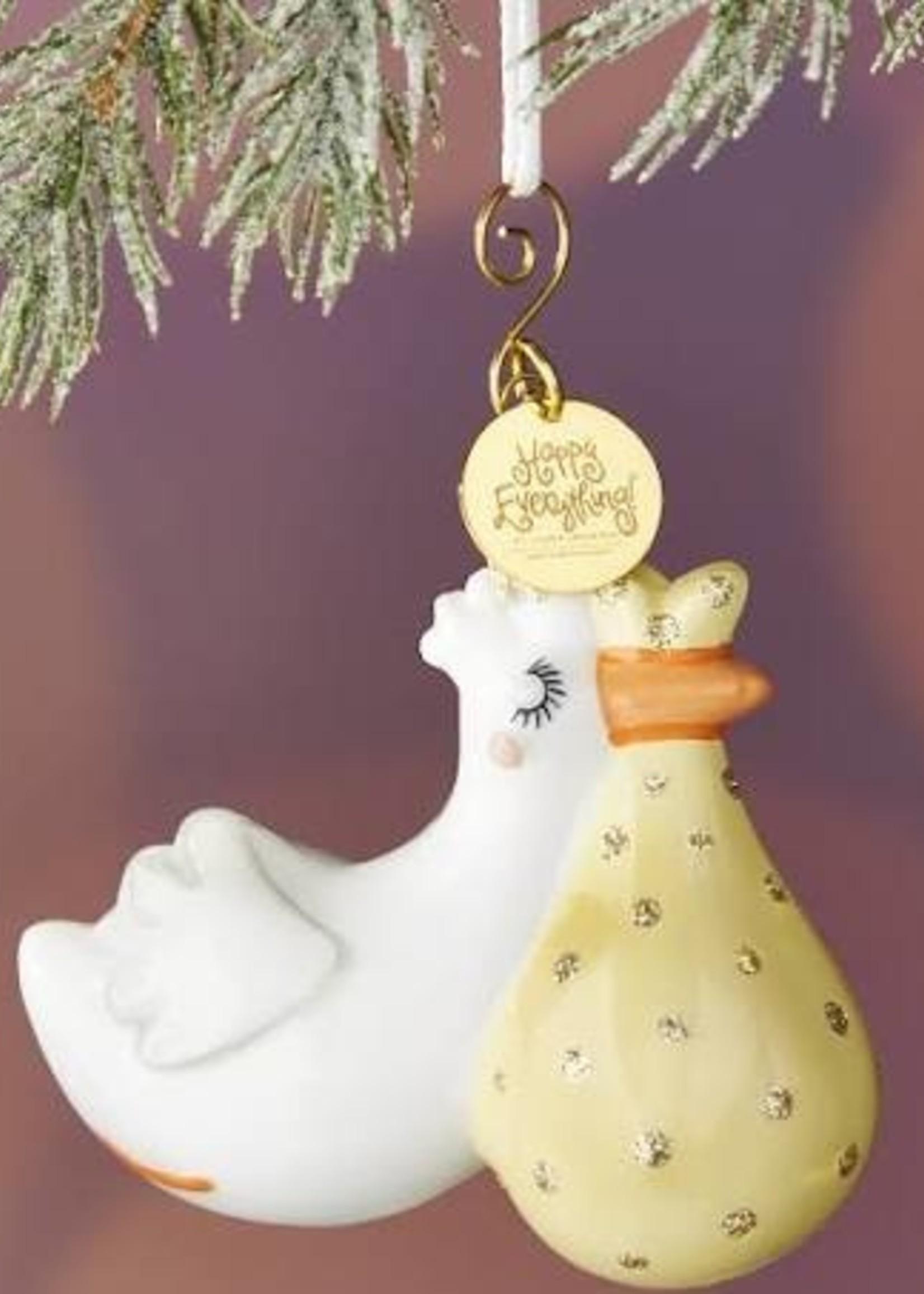Happy Everything Flying Stork Shaped Ornament