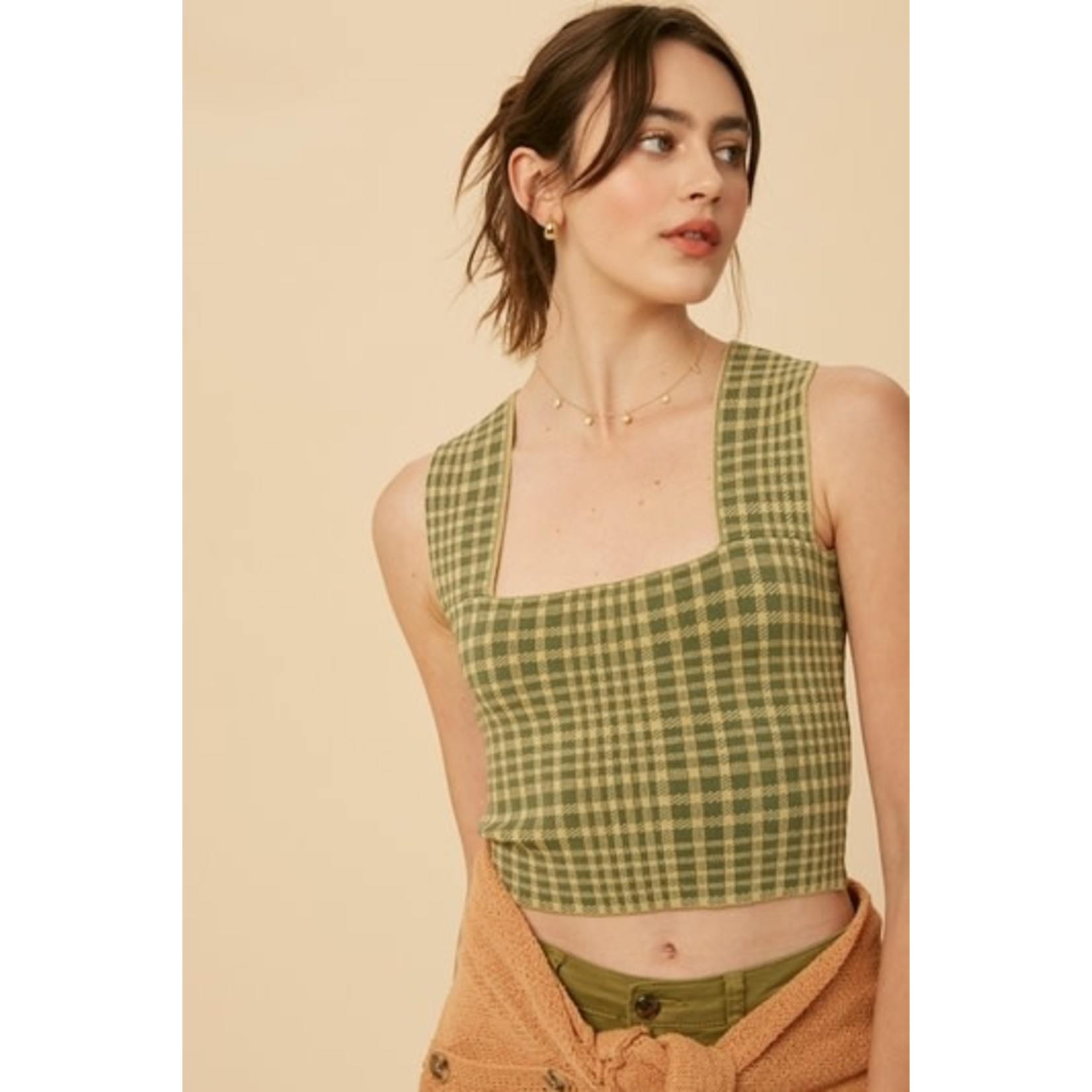 Listicle PLAID WIDE STRAP SWEATER KNIT BRAMI TOP