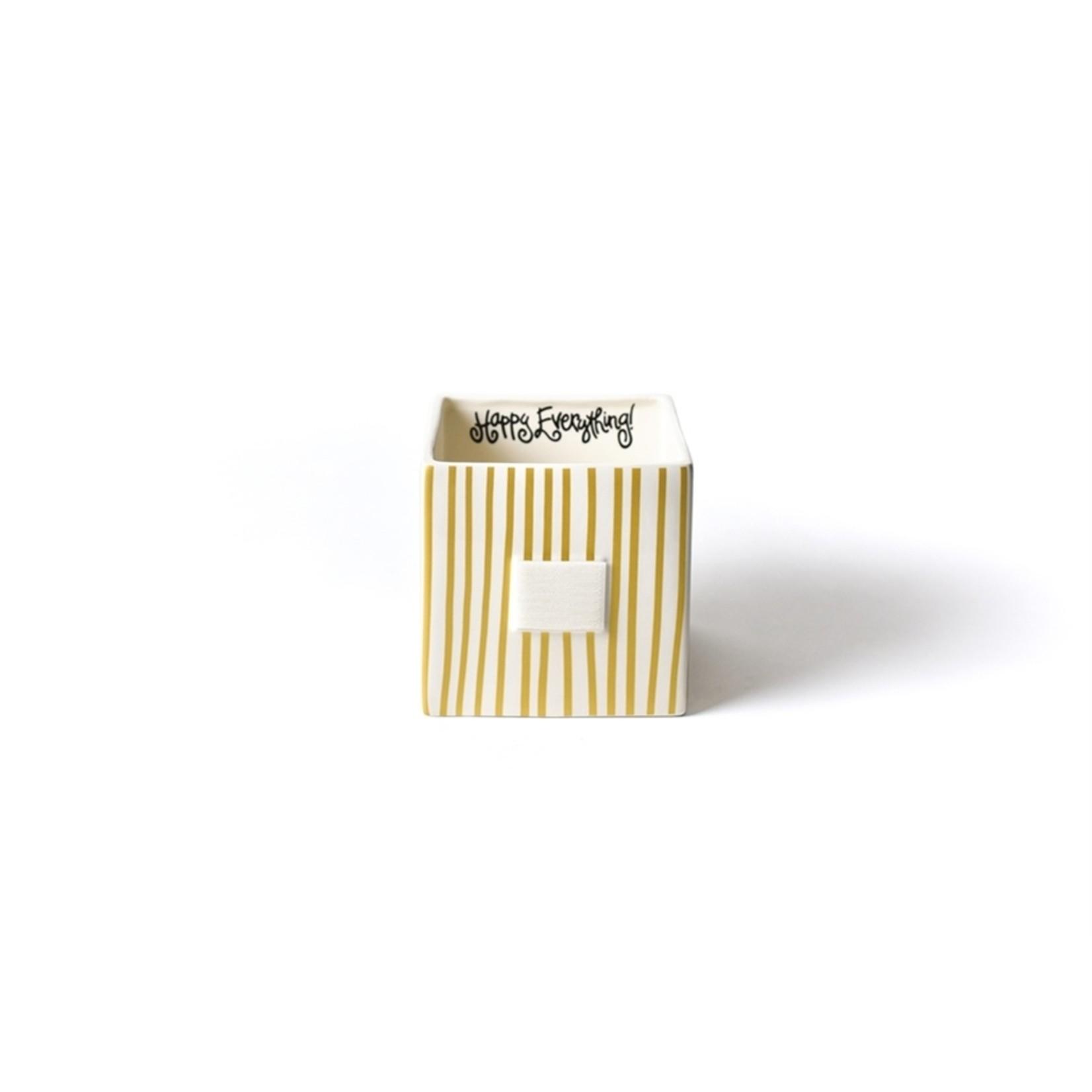 Happy Everything Gold Stripe Mini Nesting Cube Medium
