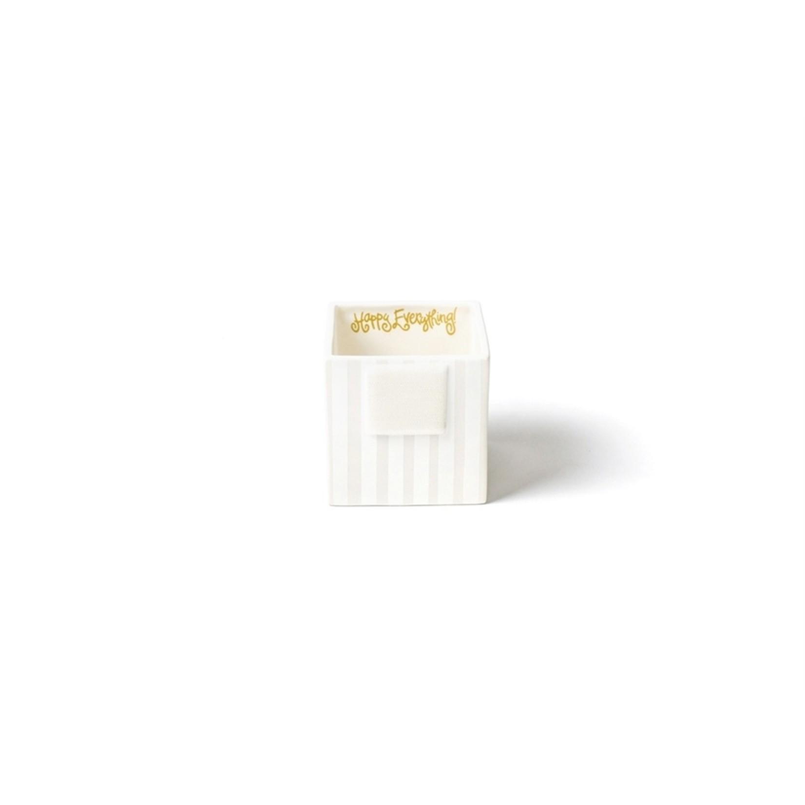 Happy Everything White Stripe Mini Nesting Cube Small
