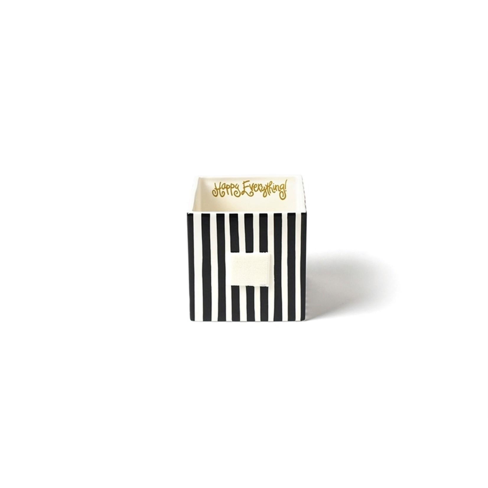 Happy Everything Black Stripe Mini Nesting Cube Medium