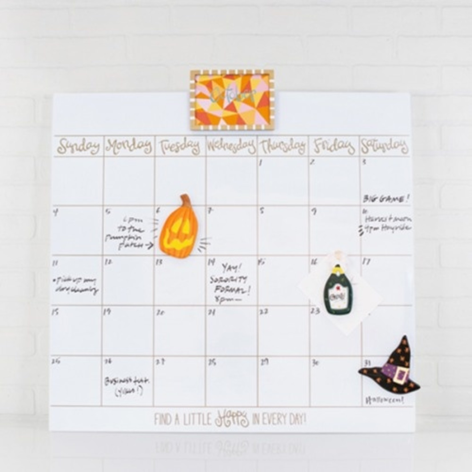 Happy Everything Happy Everything Magnetic Dry Erase Wall Calendar with Gold Frame Attachment and Month Inserts