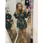 She + Sky Long Sleeve Print Tiered Dress