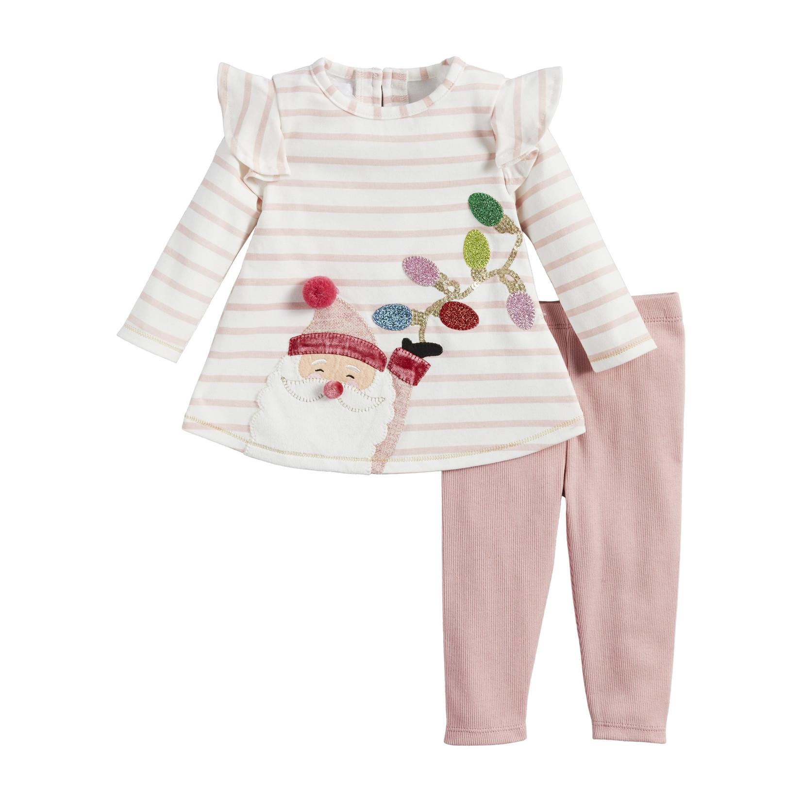 Mudpie Pink Santa Tunic and Leggings Set
