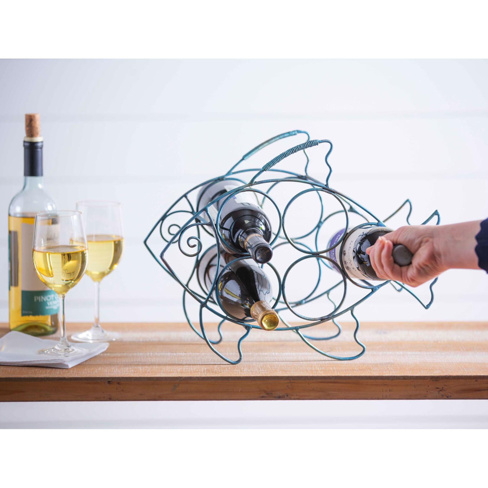 Evergreen Metal Fish Wine Holder