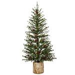 Evergreen Pre-Lit Christmas Pine Tree with Resin Birch Pot