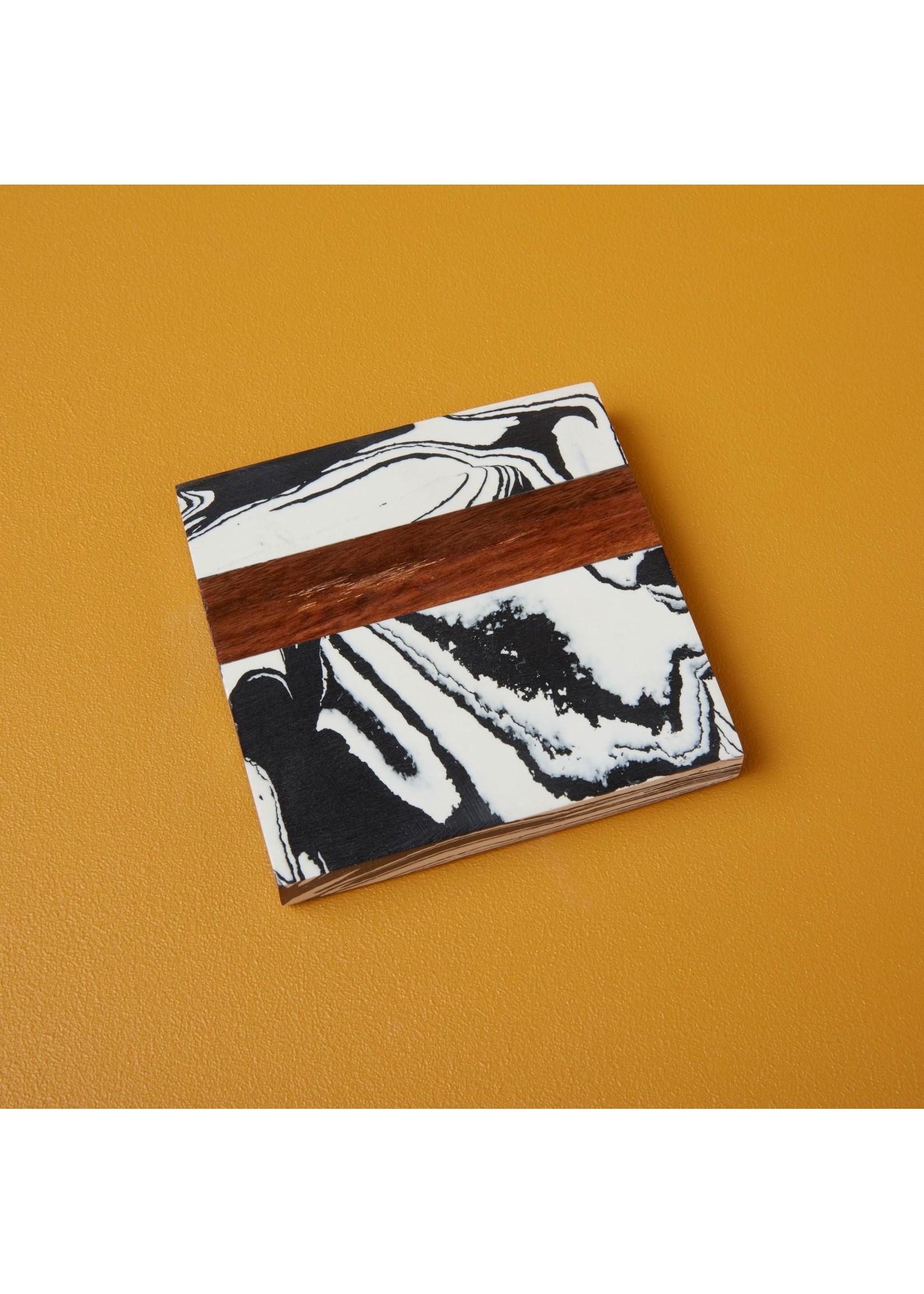 Zebra Marble & Wood Coaster