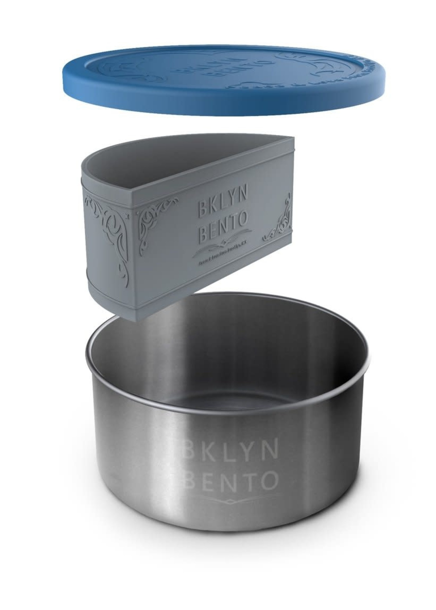 Brooklyn Bento Stainless Steel Large Round Container With Silicone Food Separator and Leak-Proof Lid