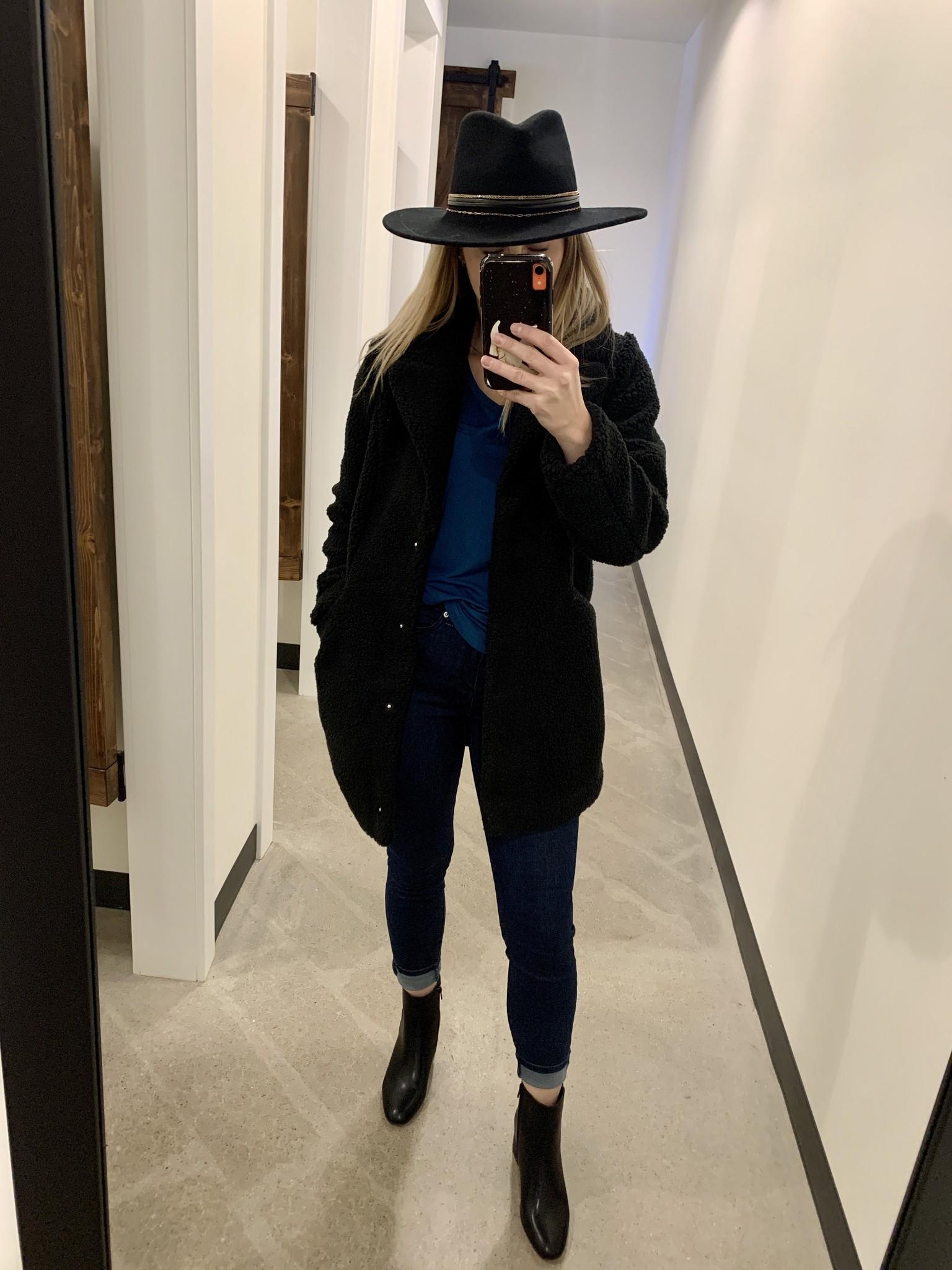 Vero Moda Black Teddy Coat