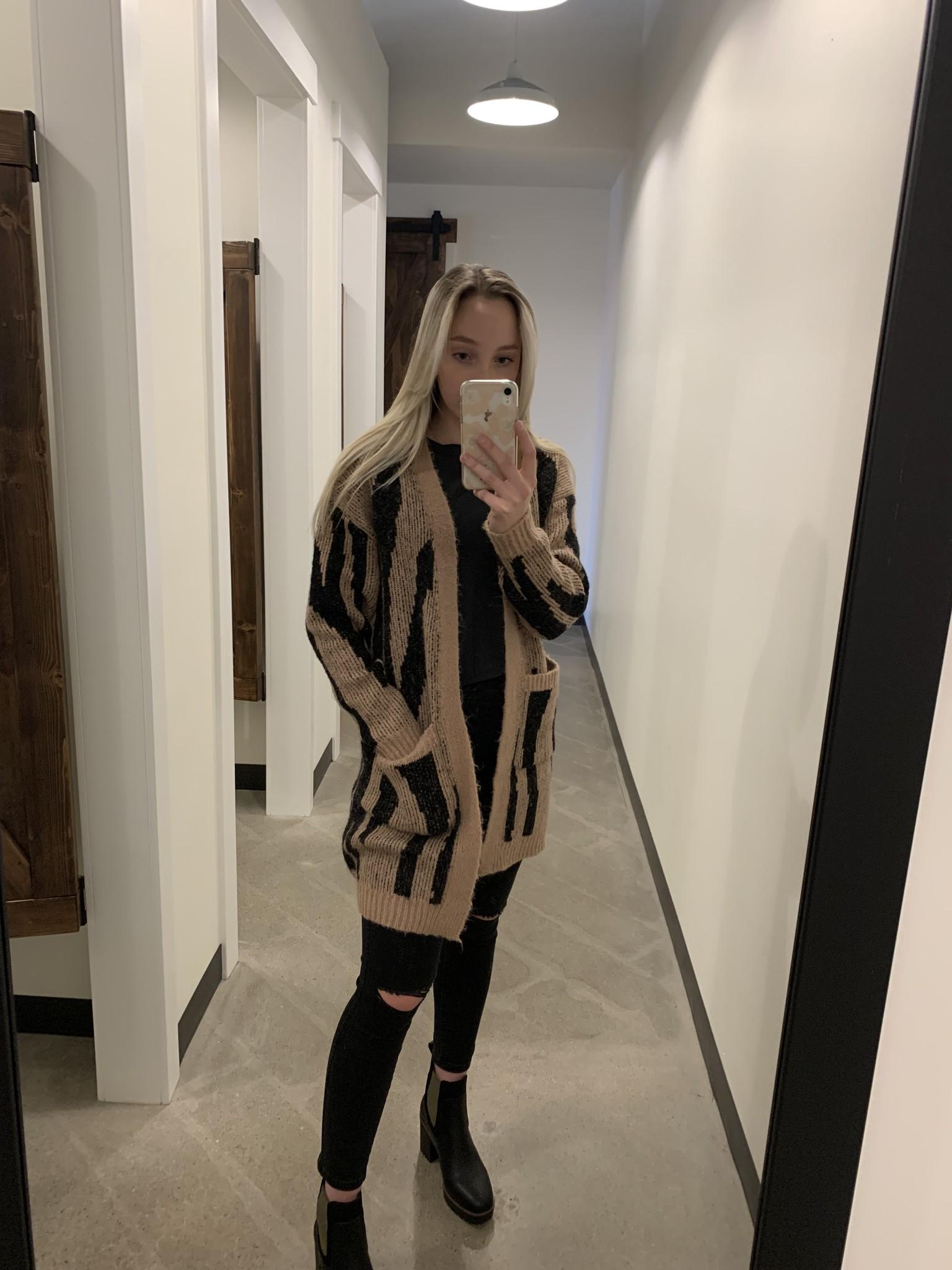 Vero Moda Long Sleeve Cardigan Tan/Black