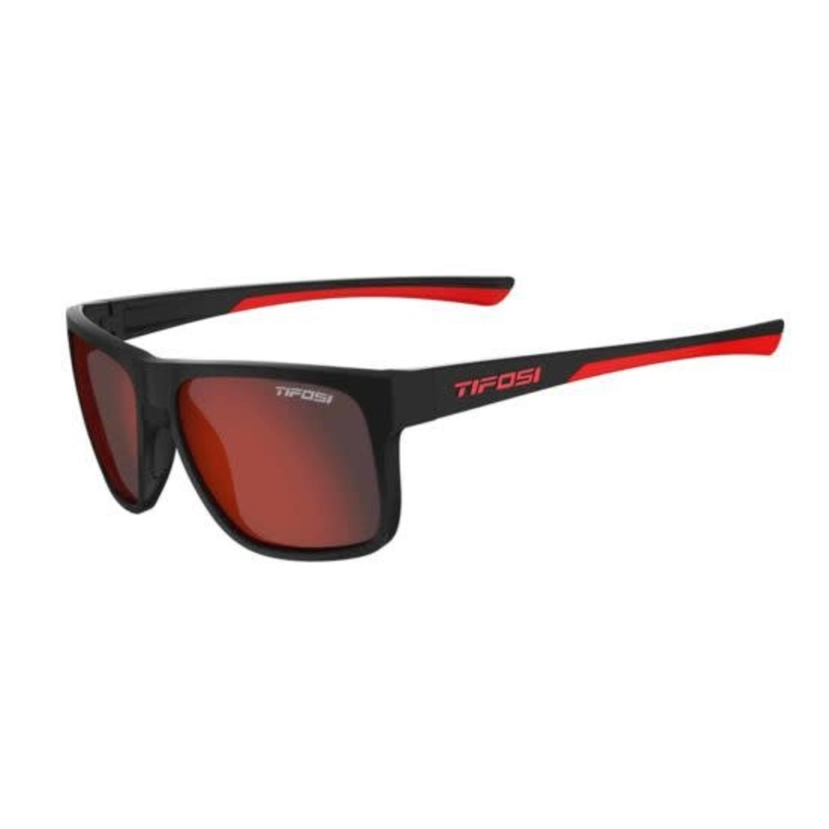 Tifosi Optics Swick, Satin Black/Crimson Single Lens Sunglasses