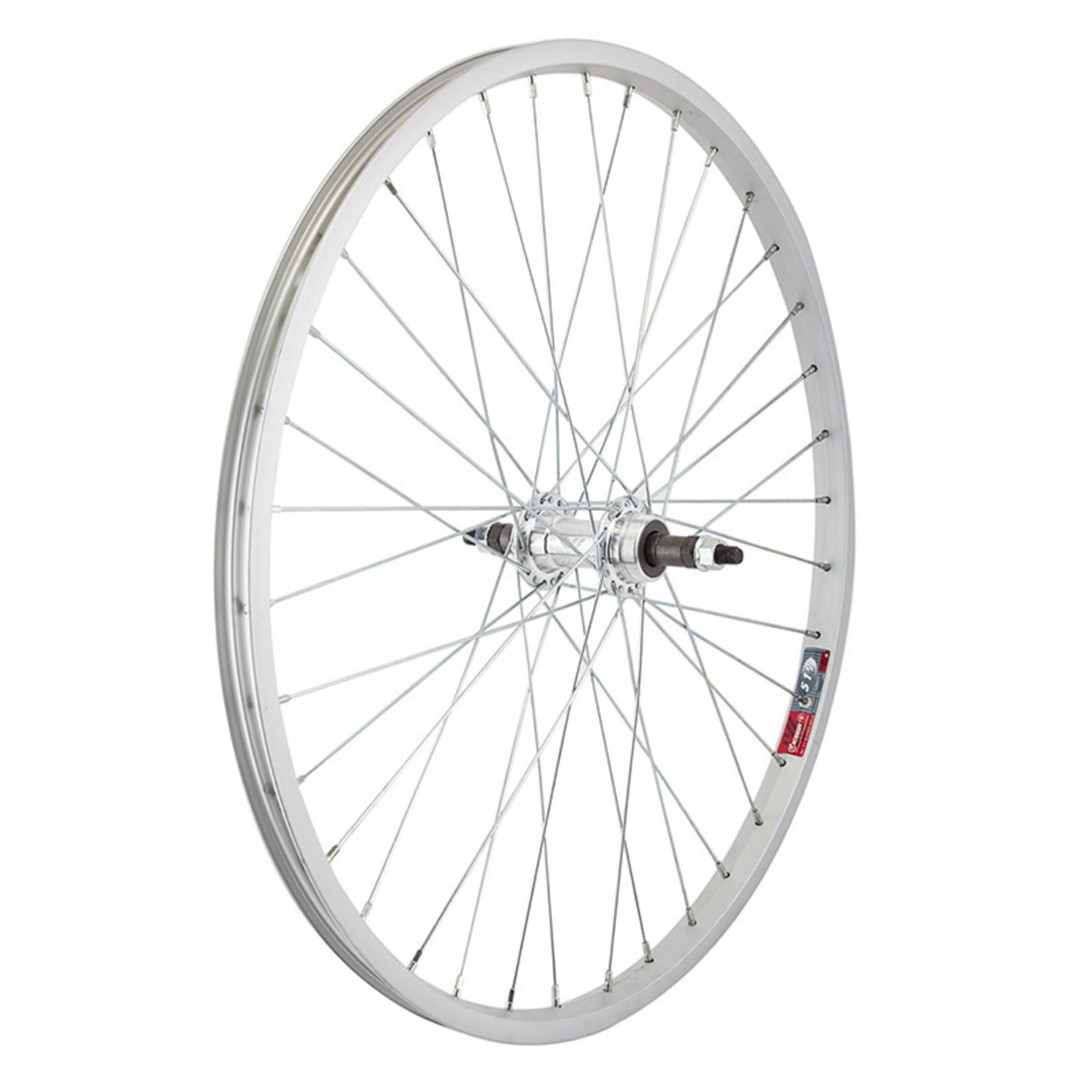 """24"""" Rear Wheel Alloy Mountain Single Wall FW BO 3/8 135mm 14g Silver"""
